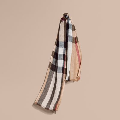 Burberry Lightweight Check Linen Scarf In Camel