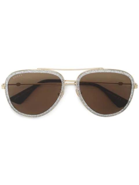 Gucci Eyewear Glitter Aviator Sunglasses - Metallic