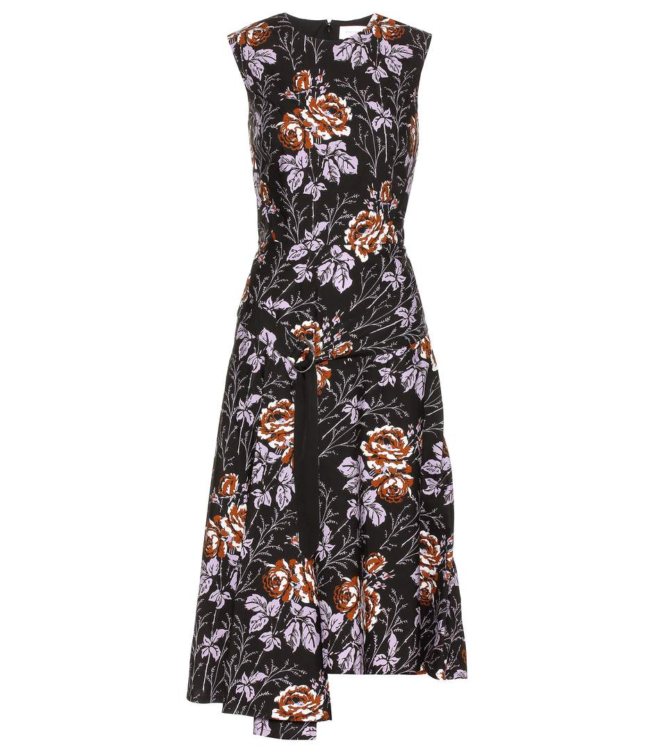 Victoria Beckham Printed Cotton Dress In Rose Llack-lilac