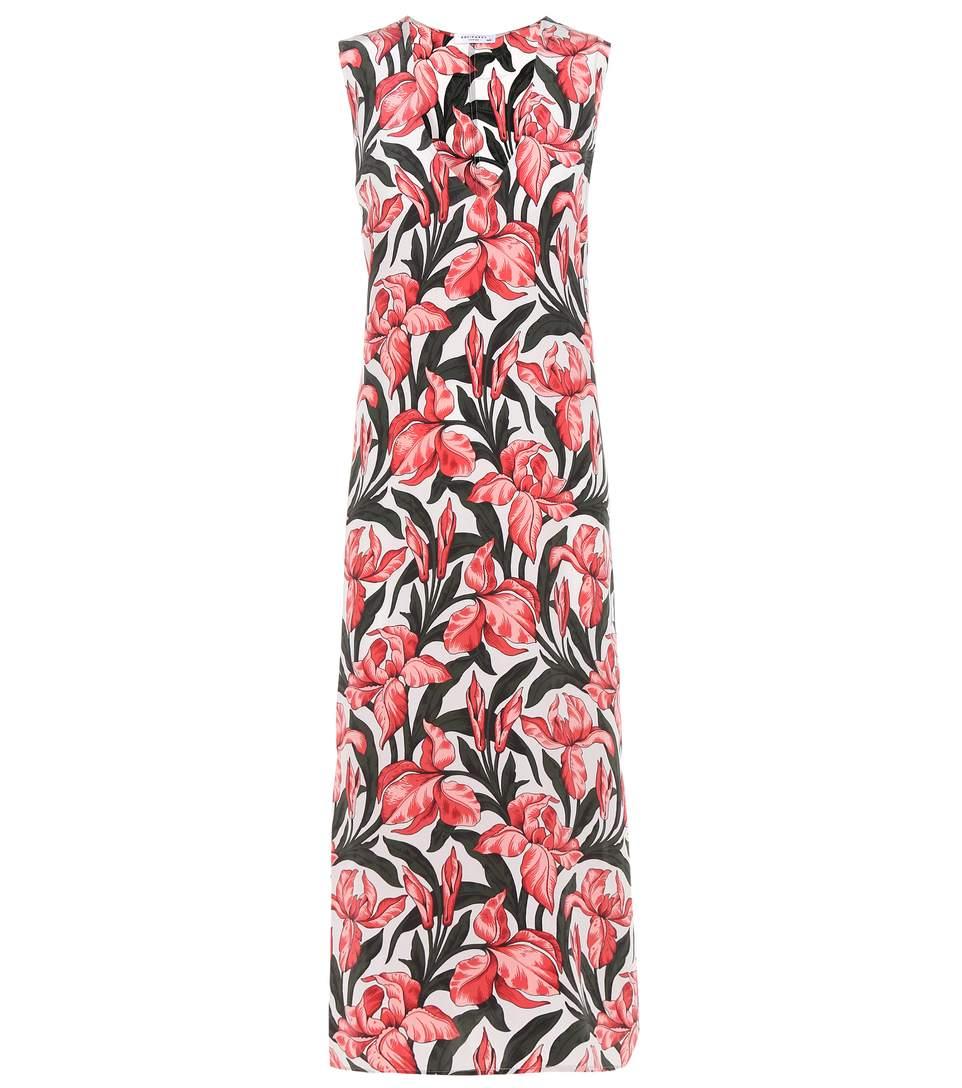Equipment Connery Floral-printed Silk Dress In Amethyst Fog