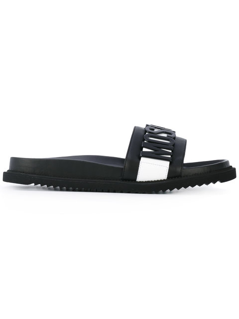 Moschino Logo Slide Leather Sandals In Black