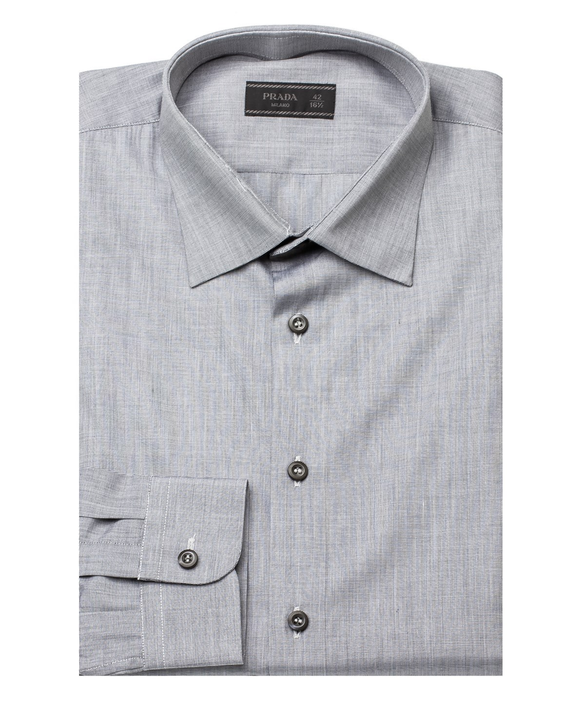 Prada Men's Spread Collar Cotton Dress Shirt Grey