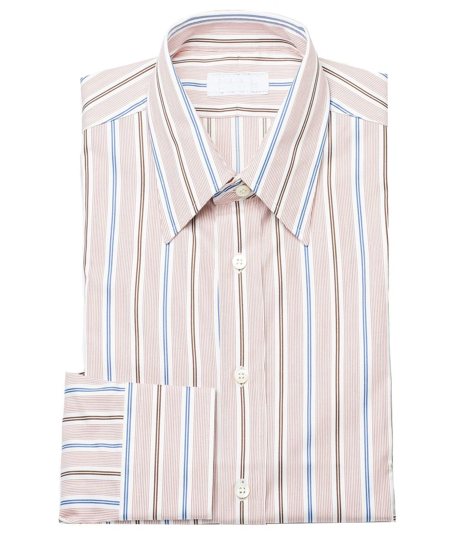 Prada Men's Spread Collar Pinstripe Cotton Dress Shirt Red