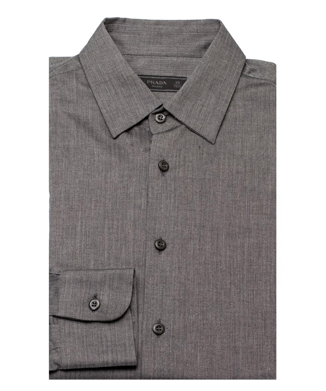 Prada Men's Spread Collar Cotton Stretch Dress Shirt Grey