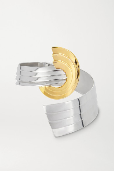 Leda Madera Meryl Palladium-plated And Gold-plated Clip Earrings In Silver