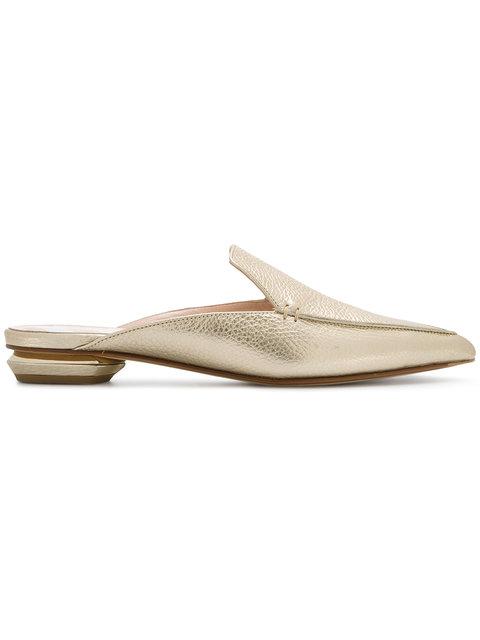 Nicholas Kirkwood Beya Metallic Grained-leather Backless Loafers