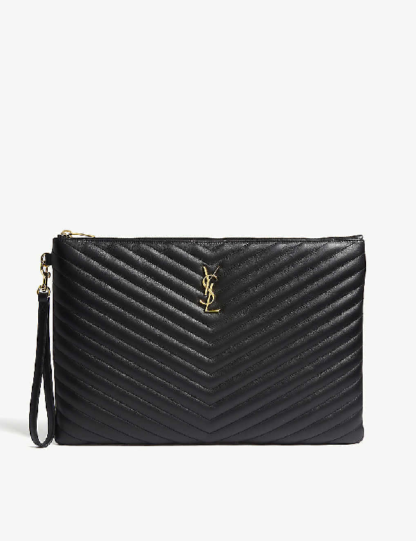 Saint Laurent Monogram Quilted Leather Pouch In Black