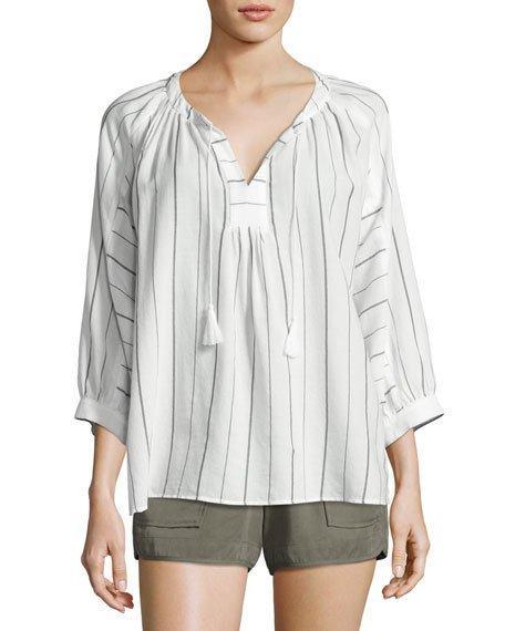 Joie Toluca B Striped Cotton Top, White