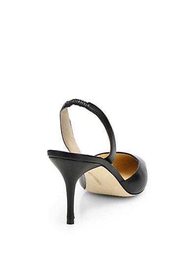 Manolo Blahnik Carolyne Leather Slingback Pumps In Luggage