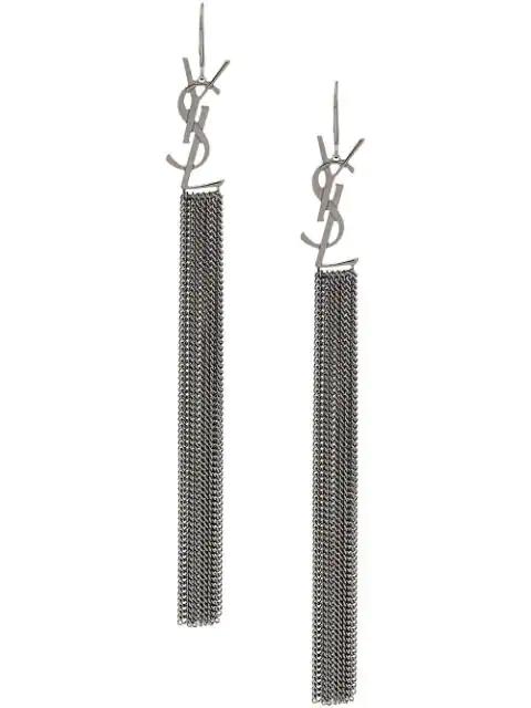 Saint Laurent Silver Tone Chain Drop Logo Earrings In Metallic