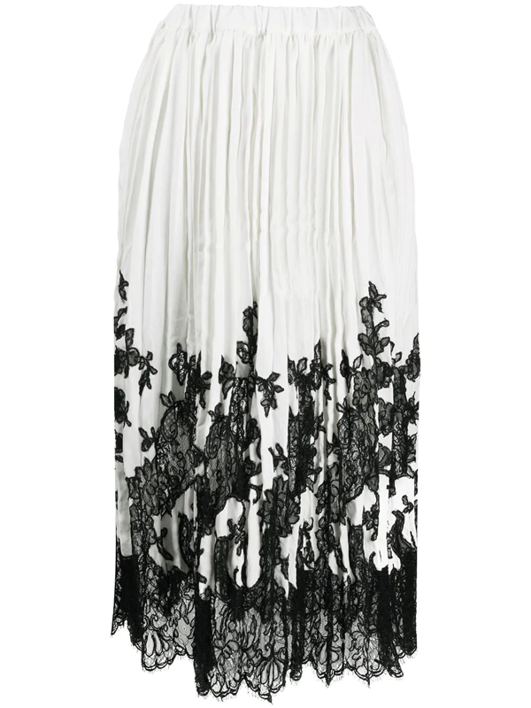 Ermanno Scervino Skirt In White Featuring Lace Insert