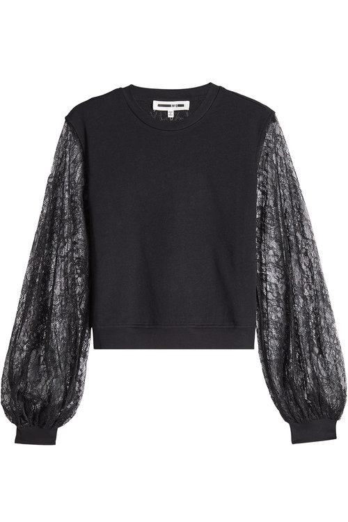 Mcq By Alexander Mcqueen Cotton Sweatshirt With Lace Sleeves In Black