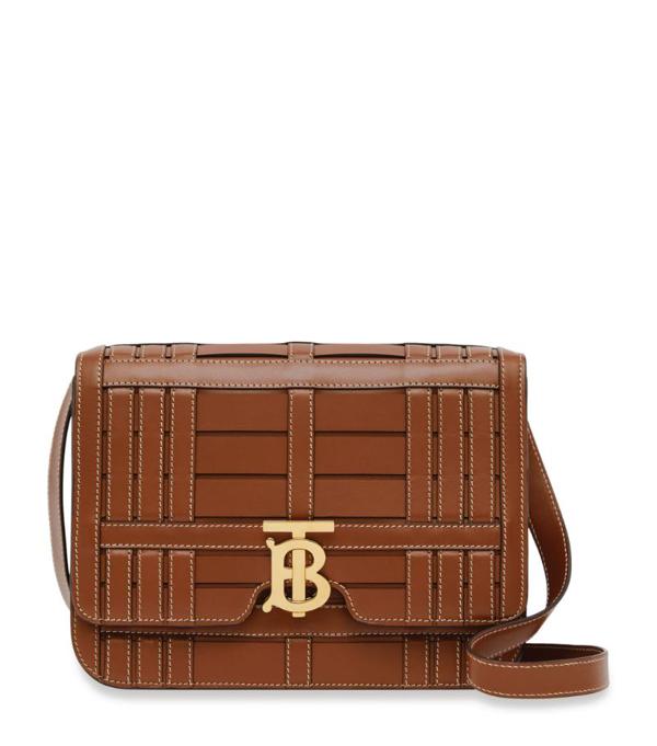 Burberry Medium Woven Leather Tb Bag In Tan