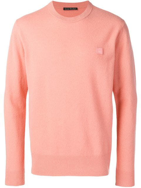 Acne Studios Nalon Face Jumper In Pink