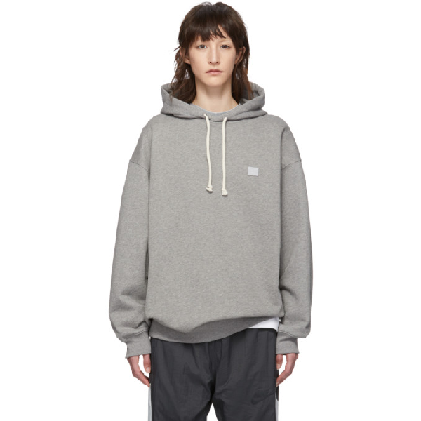 Acne Studios Grey Oversized Patch Hoodie In Lt Grey Mlg