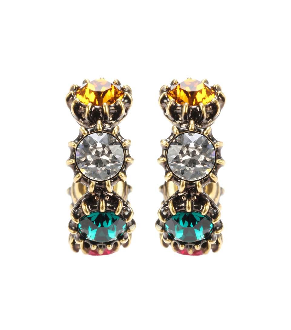 Gucci Crystal Embellished Hoop Earrings In Gold