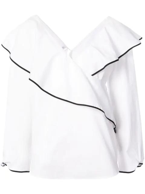 Diane Von Furstenberg Fluted-lapel Wrap Cotton Blouse In White