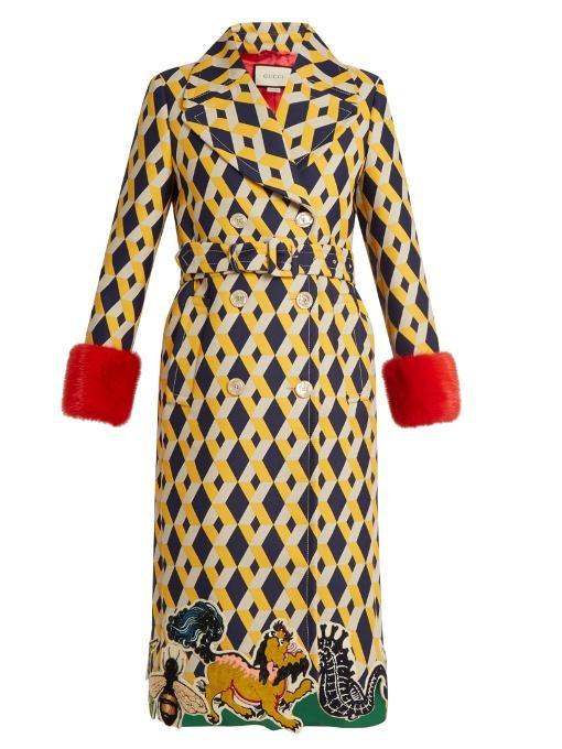 Gucci - Geometric Print Fur Trimmed Wool Blend Coat - Womens - Yellow Multi