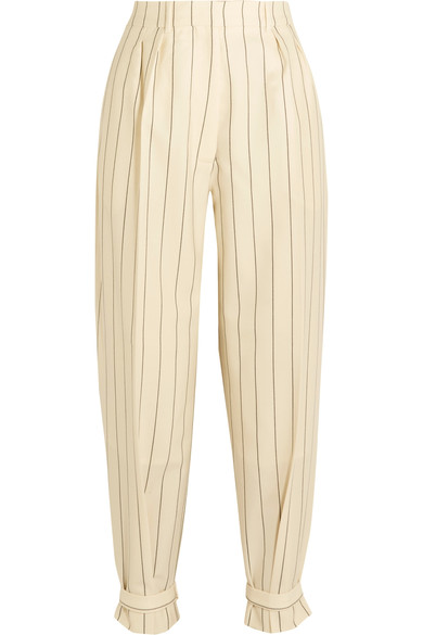 Hillier Bartley Buckled Pinstriped Wool-twill Pants In Cream Stripe