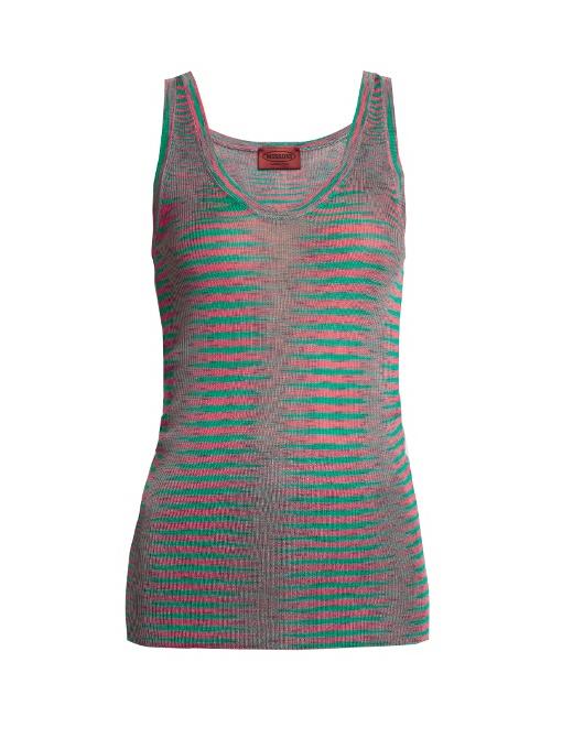 Missoni Faded-stripe Ribbed-knit Tank Top In Pink Multi
