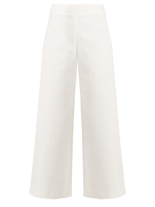 Adam Lippes High-rise Denim Culottes In White