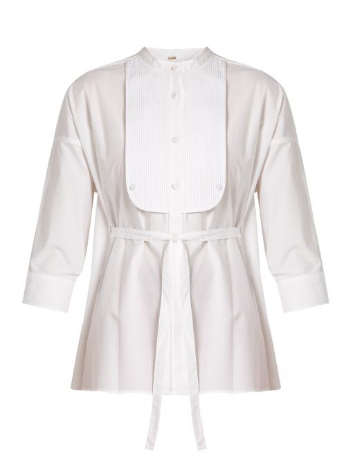 Adam Lippes Tie-waist Cotton-poplin Shirt In White