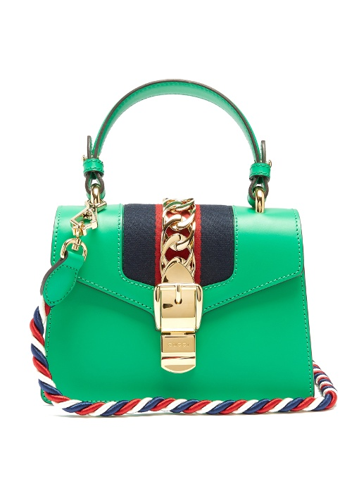 Gucci Sylvie Mini Leather Crossbody Bag In Green  cfbf4e3eca4d9