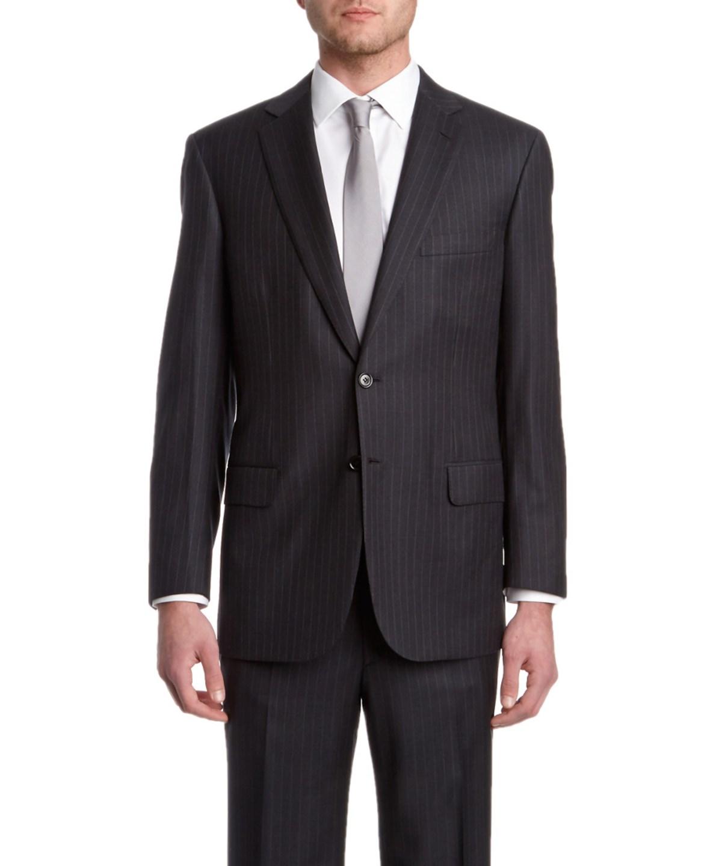 Brioni Pinstripe Wool Suit In Grey