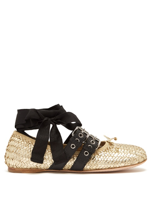 Miu Miu Belted Woven Metallic Leather Ankle-wrap Ballet Flats In Gold