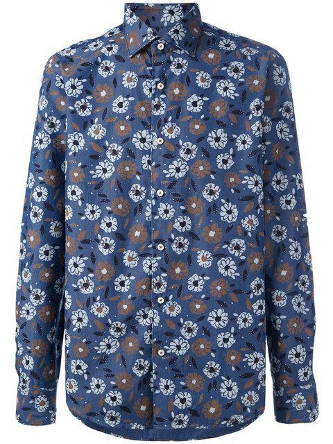 Xacus Floral Print Button-up Shirt - Blue