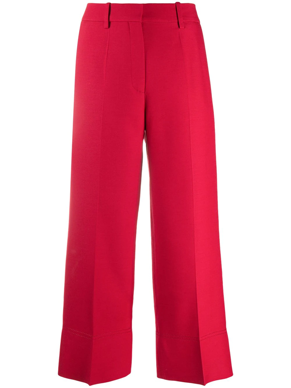 Valentino Cropped Virgin Wool Trousers In Red