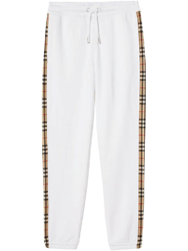 Burberry Vintage Check Side Stripe Cotton Trackpants In White