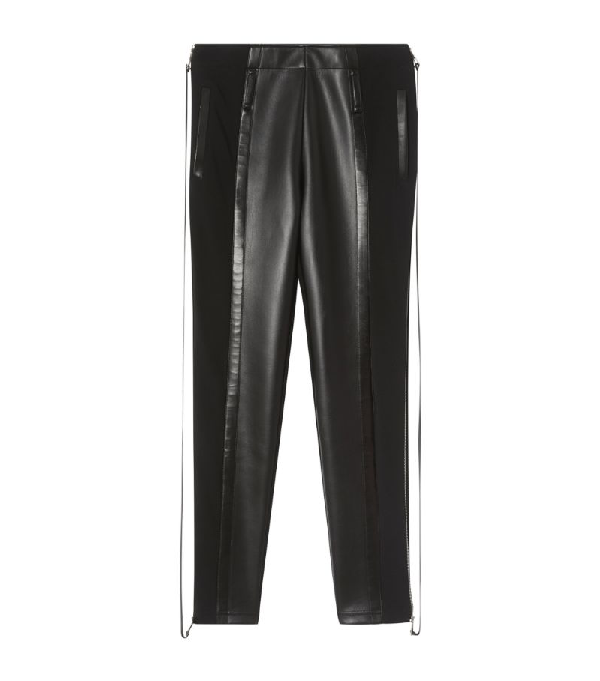 Burberry Zip Detail Stretch Crepe Jersey Leggings In Black