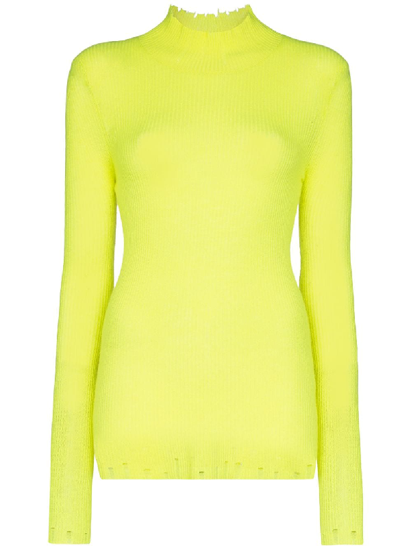 Les Rêveries Turtleneck Ribbed Cashmere Top In Yellow