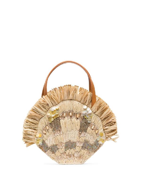 Aranaz Beige Serena Embellished Raffia Mini Bag In Neutrals