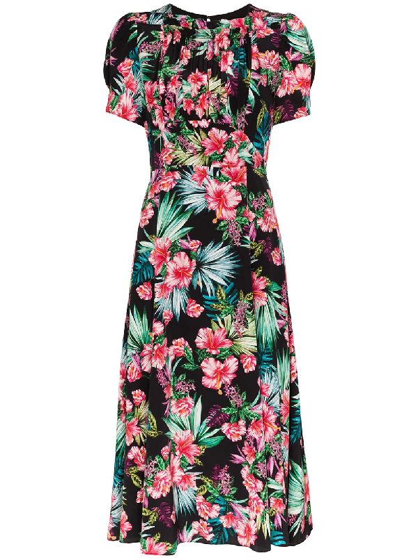 Les Rêveries Hibiscus Print Smocked Silk Midi Dress In Black