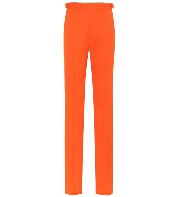Attico Stretch-wool Pants In Orange
