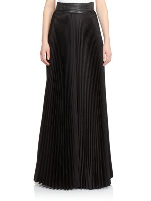 Moschino Leather-trimmed Pleated Palazzo Pants In Black