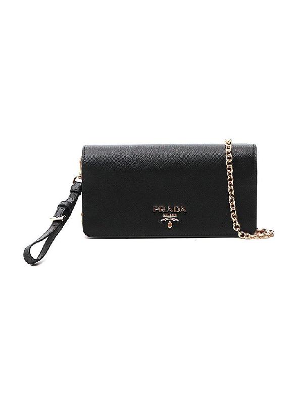 Prada Logo Chain Strap Clutch Bag In Black