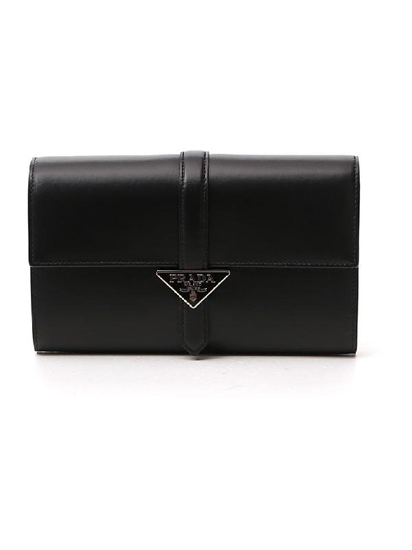 Prada Logo Front Flap Clutch Bag In Black
