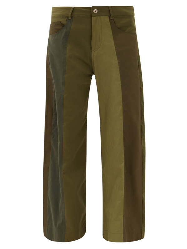 Marques' Almeida Upcycled Deconstructed Panelled Wide-leg Trousers In Army Green
