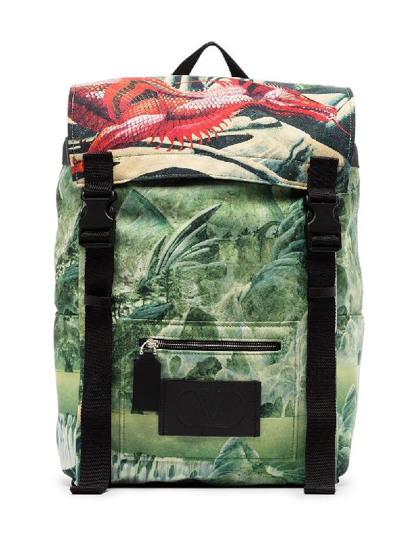 Valentino Garavani Green Red Dragon Print Backpack