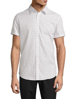 Calvin Klein Striped Cotton Shirt In White