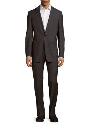 Calvin Klein Herringbone Wool Suit In Grey
