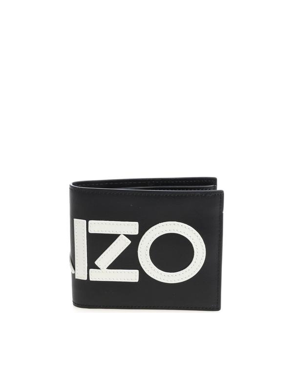 Kenzo Black Wallet With White Logo
