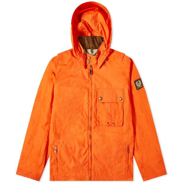 Belstaff Wing Waxed Hooded Cotton Jacket In Orange