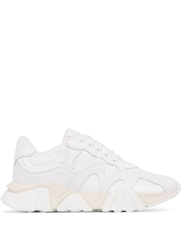 Versace White Leather Low Top Sneakers In 白色