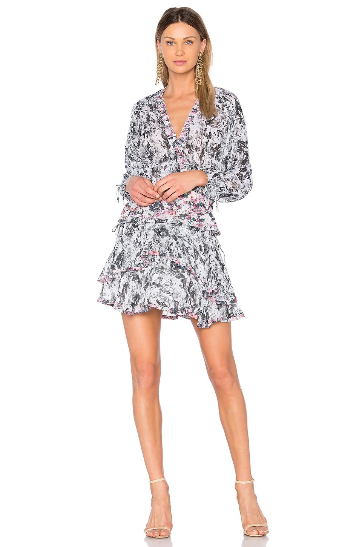 Iro Marta Tiered Abstract Mini Dress, Pink In Black