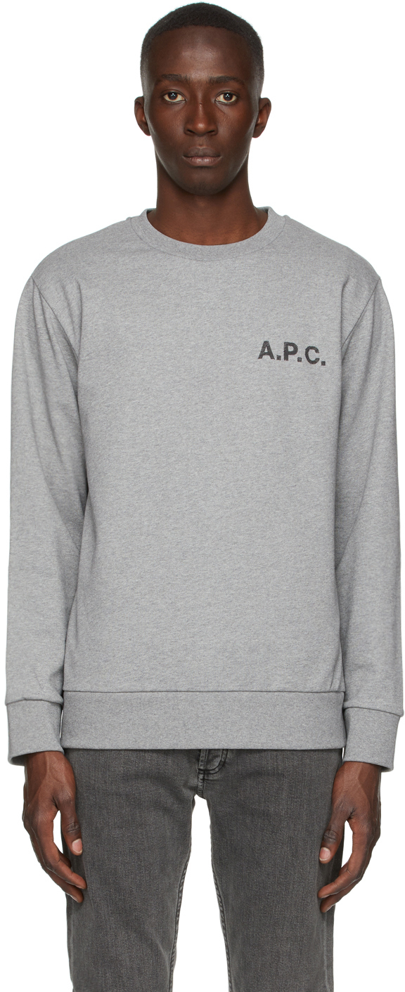 A.p.c. Printed Logo Cotton Sweatshirt In Pla Heathered Grey
