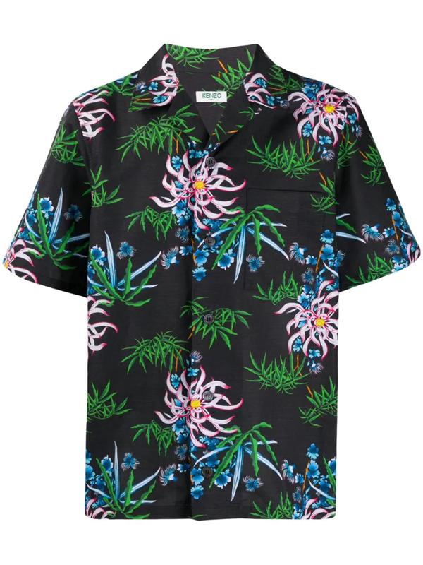 Kenzo Flower Short-sleeved Shirt In 99 Black